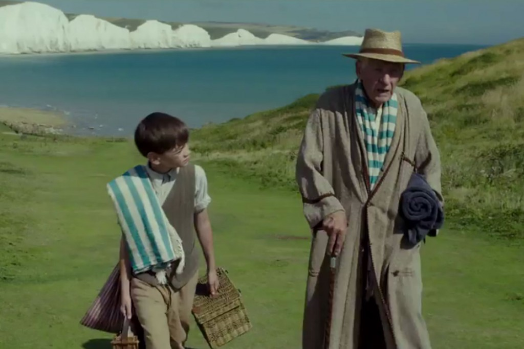 holmes and roger walking from beach